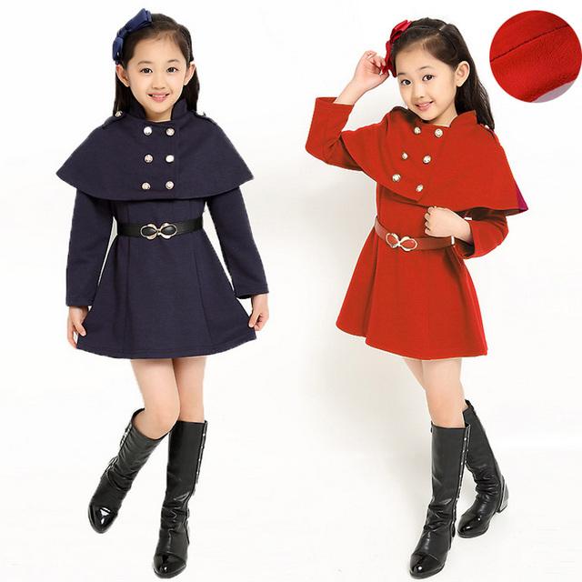 5-12Y Crianças Meninas Xale + Vestido Set 2 PC outwear Outono Inverno Manga Comprida de Lã Vestidos de Princesa Do Bebê