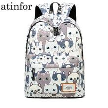 مقاوم للماء القط الطباعة على ظهره النساء طلاب المدارس الظهر حزمة الإناث 14 15.6 بوصة محمول حقيبة كتب لطيفة للفتيات