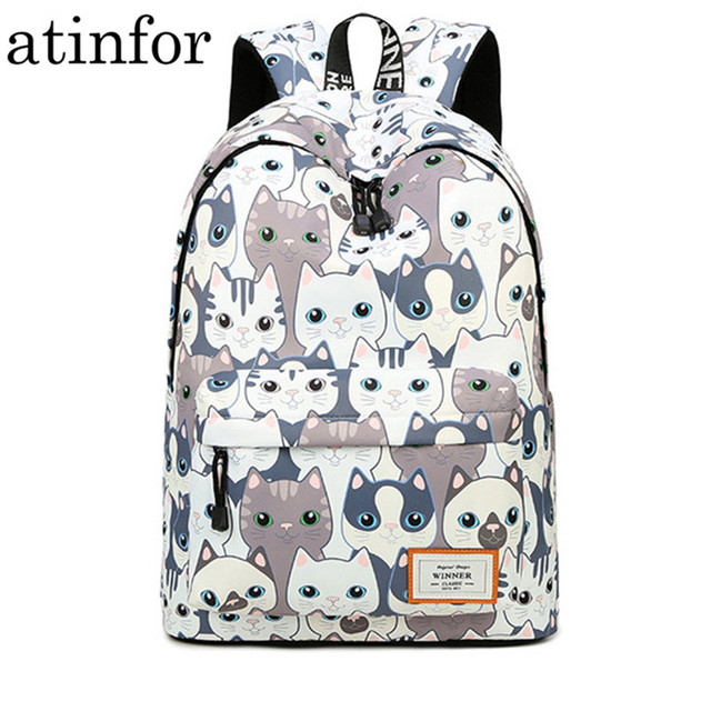 Waterproof Cat Printing Backpack Women School Students Back Pack Female 14 15.6 Inch Laptop Cute Book Bag for Girls