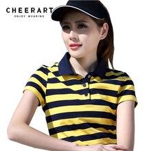 Размера плюс M-4XL хлопковая рубашка-поло для девочки Для женщин летний топ леди футболка-поло в полоску Футболка raph женский поло Femme Гольф рубашка Костюмы