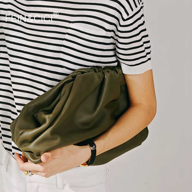 Day Clutch Evening Party Dumpling Purse Bag Women Large Big Ruched Pillow Bag Leather Pouch Handbag 2020 Summer Bag White Black