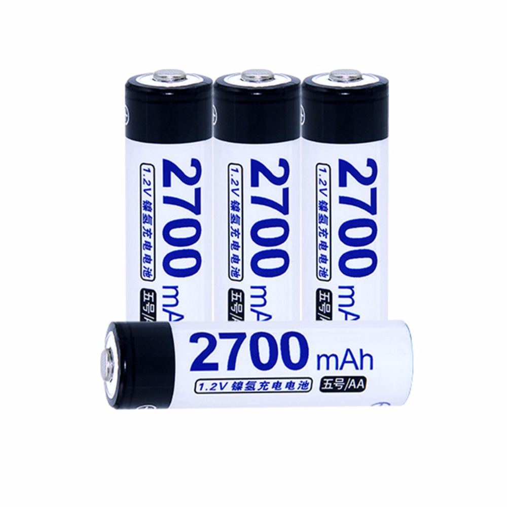 True capacity! 4 pcs AA 1.2V NIMH AA rechargeable batteries 2700mah for camera razor toy remote control flashlight 2A batterie