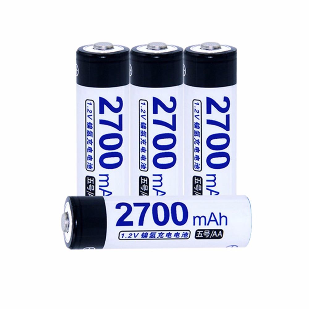 True capacity! 4 pcs AA 1.2V NIMH AA rechargeable batteries 2700mah for camera razor toy remote control flashlight 2A batterie