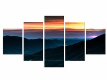 5 Pieces Free Shipping Sunset Mountains Flowers Nature Art Poster Print Landscape Wall Pictures Living Room Decor Framed