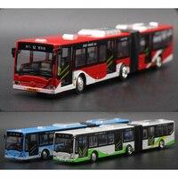 새로운 1:18 길어진 두 배 버스 합금 차 모형 버스 경첩 버스는 아이들을위한 소리와 가벼운 차 모형 선물로 후에 당긴다