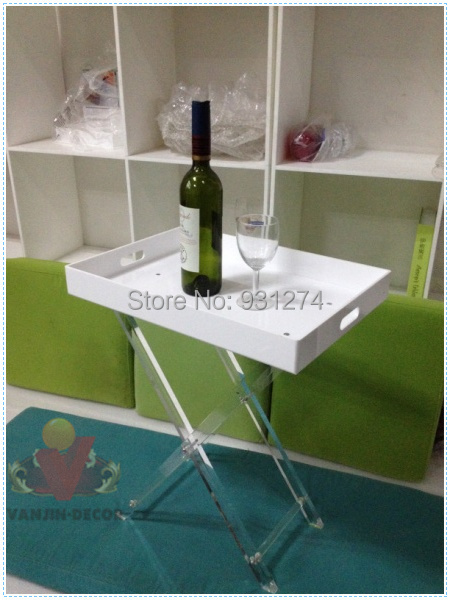 Folding Acrylic Home tray table,White Perspex side sofa table with foldable legs hot sale c shaped waterfall acrylic occasional side table