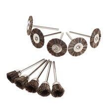 10 sztuk akcesoria dremel krążki polerskie zestaw pędzli narzędzia obrotowe do Mini wiertła polerowanie metalu polerowanie gratowanie szczotka do kół
