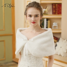 Фотография ADLN Elegant Warm Faux Fur Bolero Wedding Wrap Shawl Bridal Jacket Evening Wedding Winter Capes Ivory