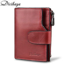 Купить с кэшбэком DICIHAYA Genuine Leather Women Wallet Hasp Small and Slim Coin Pocket Purse RED Women Wallets Cards Holders Brand Designer Purse