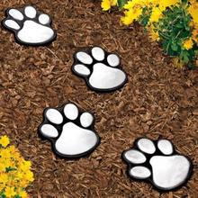 4 LED Solar Lamps Garden Light Footprints Lamp Cat Animal Paw Print Garden Light Outdoors Lantern LED Path Decorative Lighting