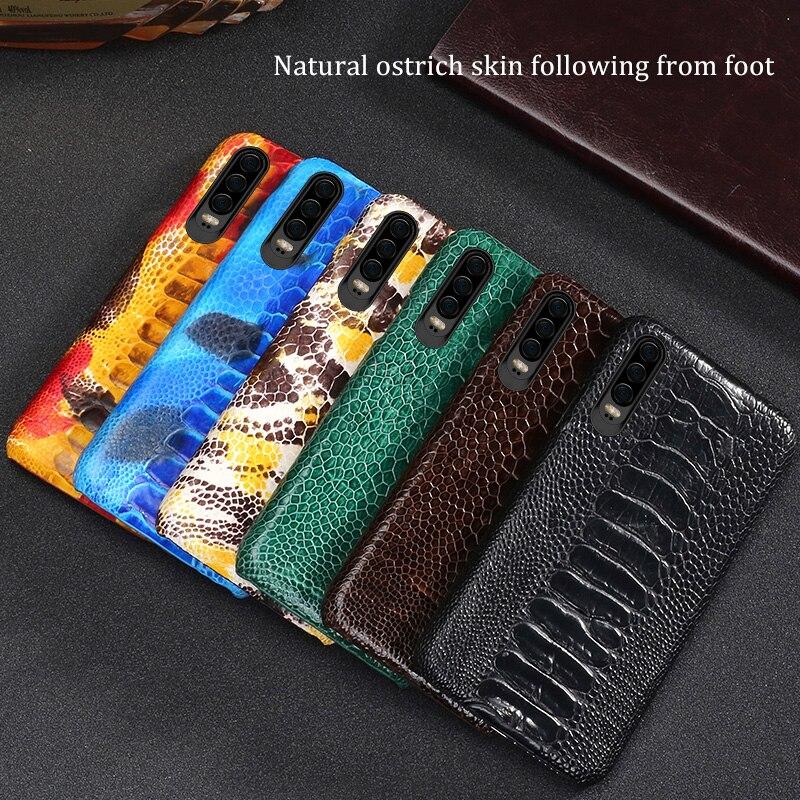Natuurlijke Struisvogel Leer Voor Huawei p30 pro high end lederen telefoon case voor Huawei p30 Lite p20 pro p20 fall bescherming mouw - 6