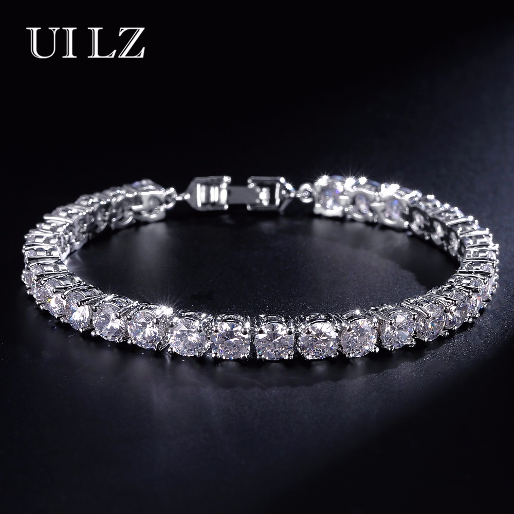 UILZ Fashion Rome Bride Jewelry Cut 5.0 mm Cubic Zirconia Tennis Bracelet & Bangles Lady Jewelry Pulseras Mujer JMBP051