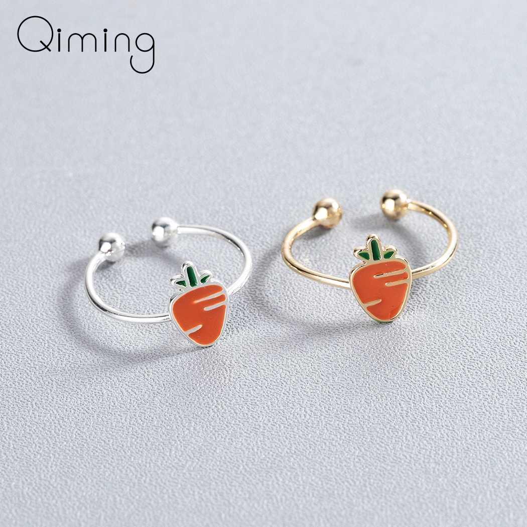Милые кольца моркови для женщин милый оранжевый Эмаль открытый кольцо палец мультфильм багги для детей девочек детские украшения