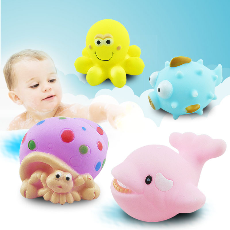Classic Toys Ccinee 4pcs Bath Toys Squeeze-sounding Dabbling Toy Baby Bath Squirters Tub Toys Classic Soft Plastic Baby Bathroom Toys Possessing Chinese Flavors Bath Toy