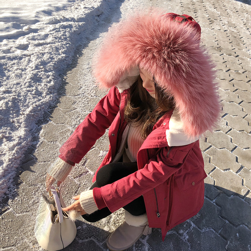 Mishow women 2018 new fashion women raccoon fur collar hooded coat warm mid long winter coat