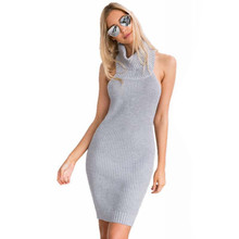 2016 Women's Winter Dresses Sexy Halter Turtleneck Open Back Backless Sleeveless Bodycon Knitted Pencil Sweater Dress