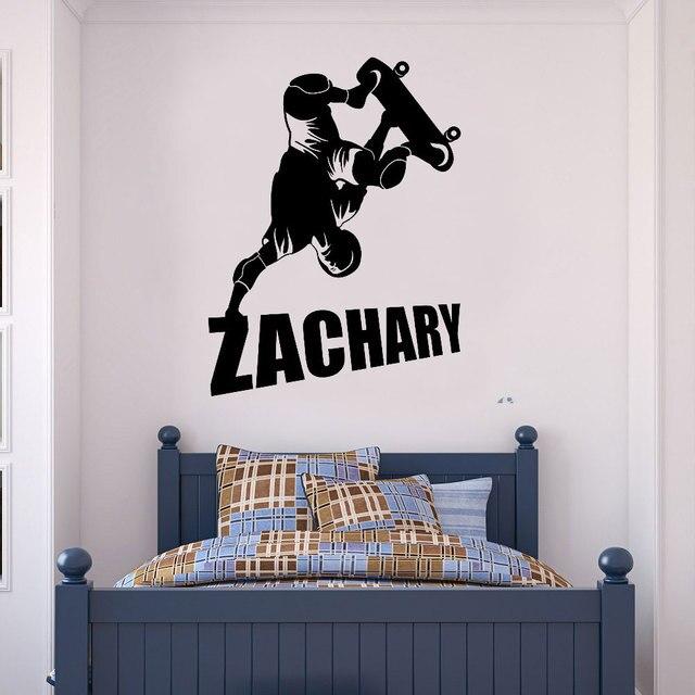 تخصيص اسم إكستريم سبورتس تزلج الفينيل جدار زين صبي فتاة غرفة خلفية ديكور المنزل الفن جدارية DZ17