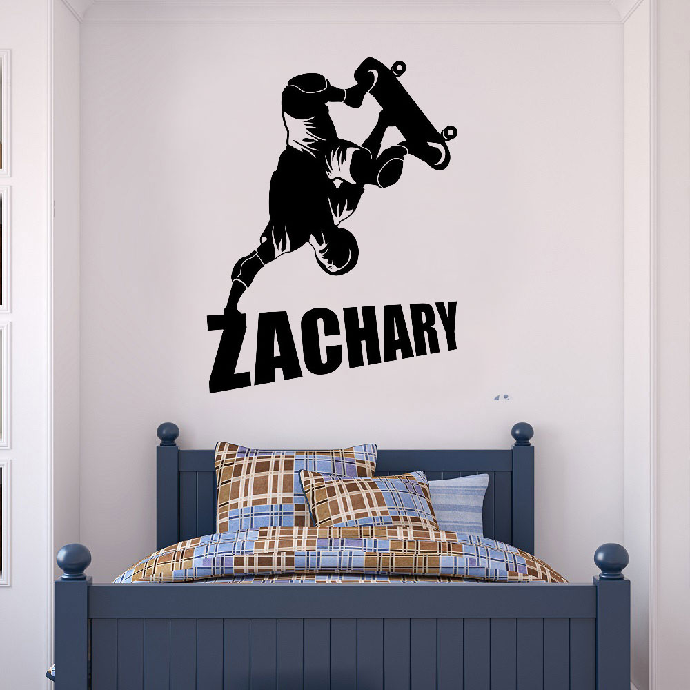 Customizable name extreme sports skateboarder vinyl wall applique boy girl room home decoration wallpaper art mural DZ17-in Wall Stickers from Home & Garden