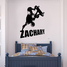 Nombre personalizable deportes extremos skateboarder vinilo aplique de pared chico chica habitación decoración del hogar papel pintado artístico DZ17