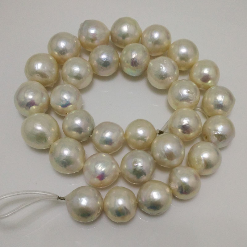 16 inches 13-14mm White AA High Luster Round Edison Pearl Loose Strand for Necklace 16 inches 30 40mm aaa natural lavender fireball baroque pearl loose strand