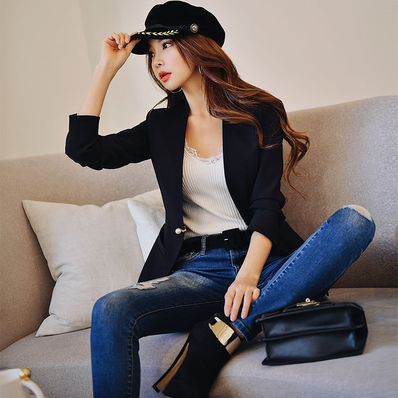 Dabuwawa Autumn Office Lady Elegant Blazers Women 2019 New Single Button Slim Vintage Short Suits Outwear Pink Black DN1AJK007