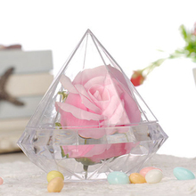 1pc Wedding Decoration Clear Diamond Shape Ring Box Plastic Jewelry Candy Flower Boxes for Birthday Party Anniversary Favor