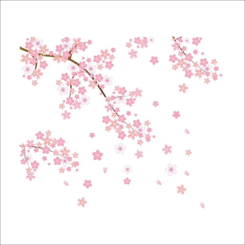 US $4 16 OFF Pink Flying Flower Sakura Cherry Blossoms Backdrop Living Room Decoration Wallpaper Sticker Decal Removable Home Decor 50X70CM Room