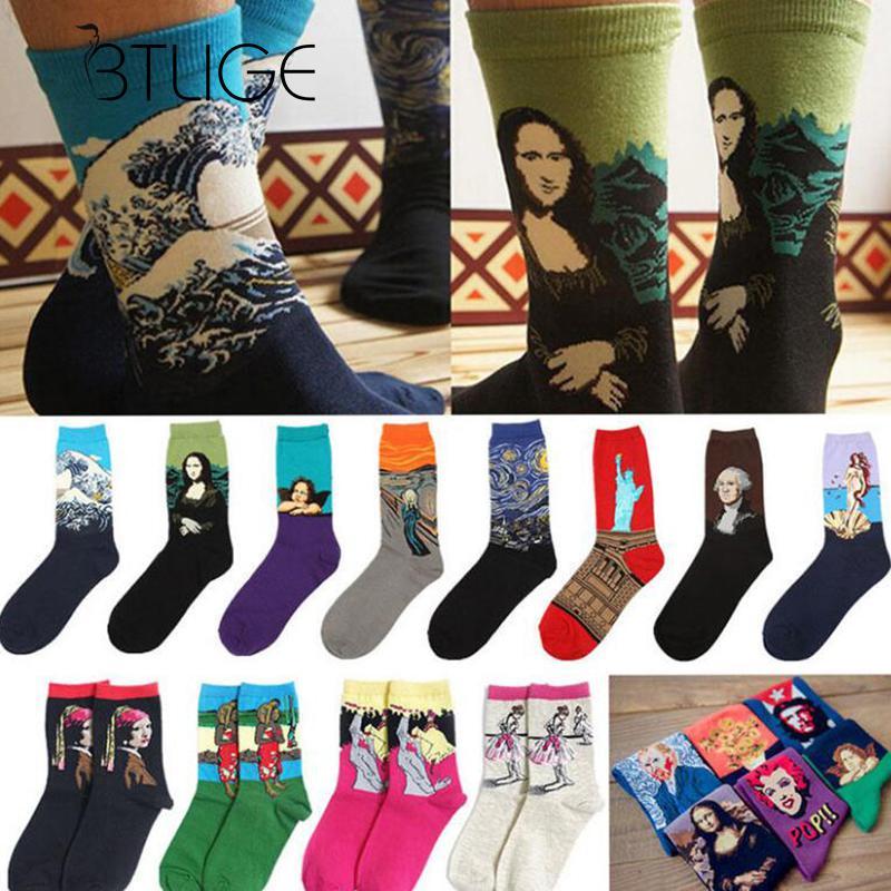 BTLIGE Novelty Mona Lisa Socks Women Famous Oil Painting Art Socks 2017 Multicolor Cute Cycling Socks Winter Retro Calcetines