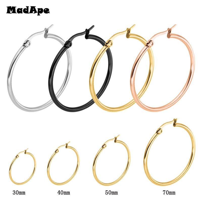 MadApe Pendientes Mujer Hoop Earrings Stainless Steel Gold/Silver Color Circle Basketball Earring...