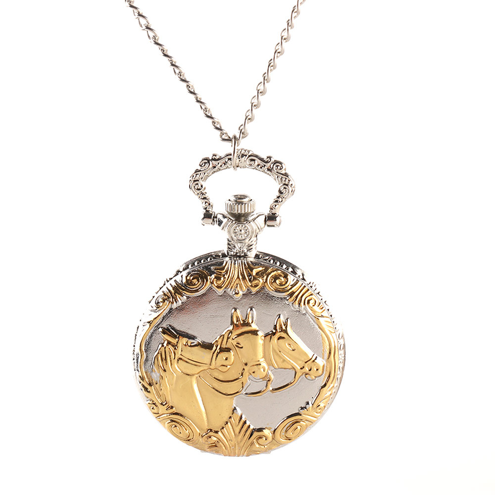 Silver and Gold Color Vintage Pocket Watch Necklace Chain Pendant Carved 3 Horse Print Pocket FOB Watches Mens Relogio pocket