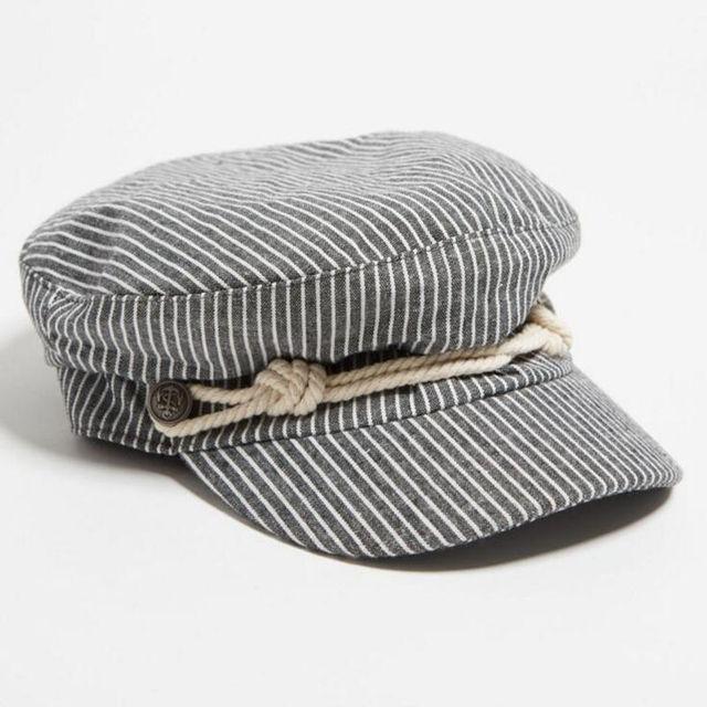 New striped mulheres cap chapéu militar plana chapéu capitão marinheiro da  marinha tampão de marinheiro cap f31a22ce016