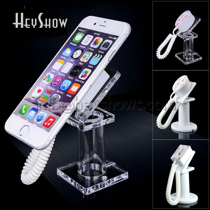 20 pcs Acrylic mobile cell phone security display stand Iphone anti-theft holder with retractable device for retail shop show real mink pom poms wool rabbit fur knitted hat skullies winter cap for women girls hats feminino beanies brand hats bones