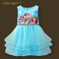 新しい夏ファンシー女の子moana漫画プリンセスドレス用キッズ女の子ティアードドレス服子供ブルードレス服ボールガウ