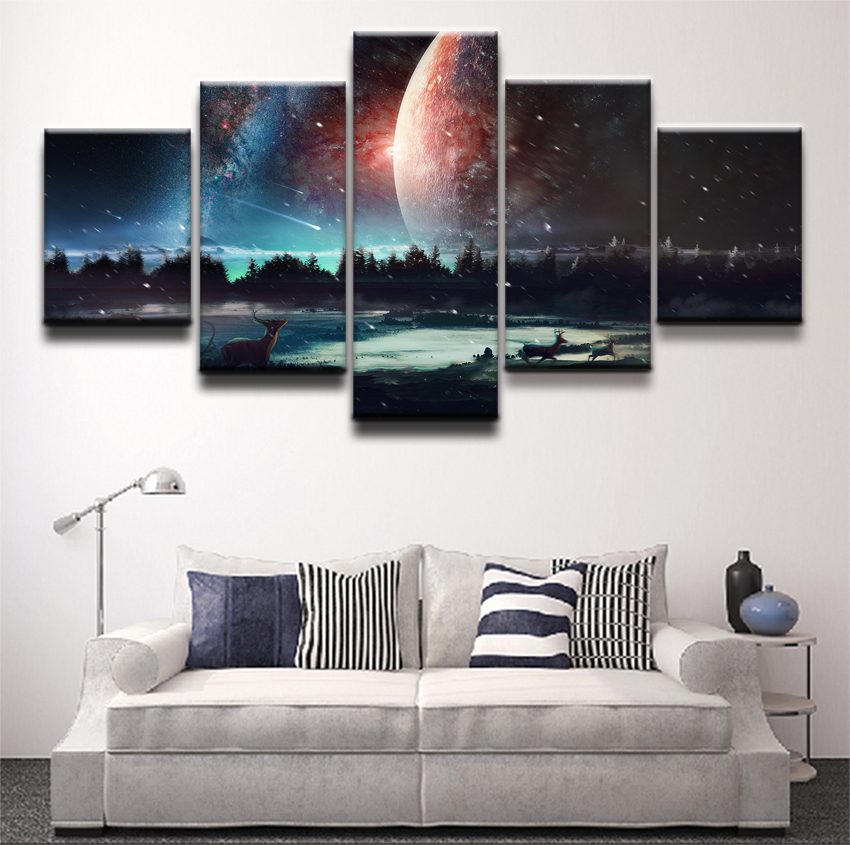 5 Pieces Canvas Painting Wall Decor The Landscape Of The Fawn And The Sky Chart  Poster Wall Art Pictures Home Decor Living Room no frame canvas