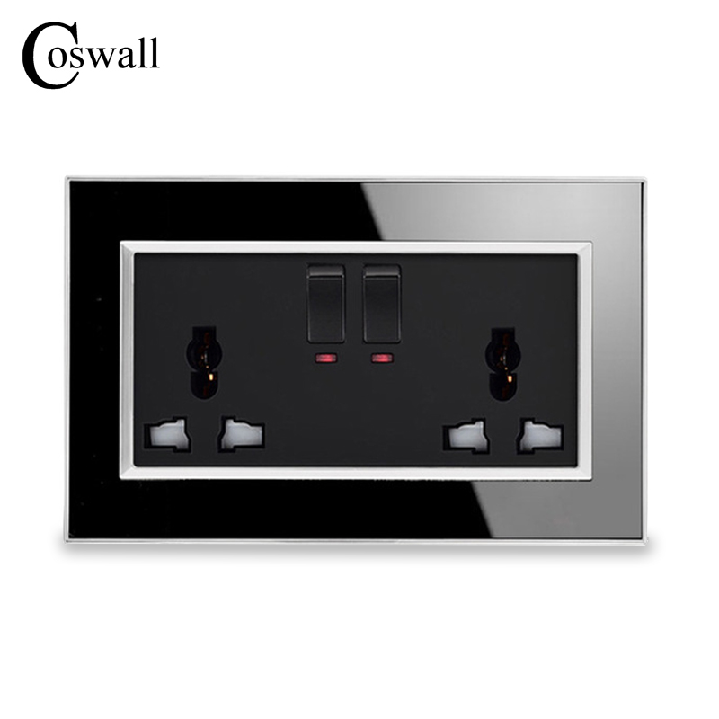 Coswall 146 Type Universal Multi-function Switched Socket With Neon Luxury Wall Power Outlet Acrylic Crystal Mirror Panel