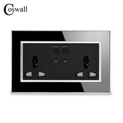 Coswall 146 tipo universal multi-função comutada soquete com néon luxo parede tomada de energia acrílico cristal painel espelho