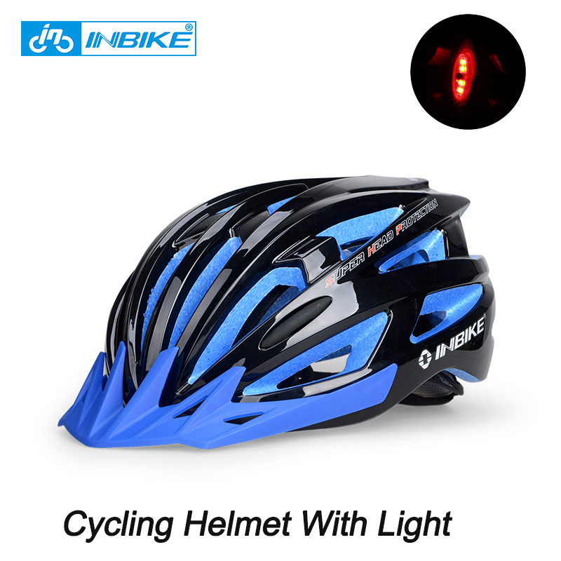 Inbike Men Cycling Helmet With Light Night S Bicycle MTB Road Helmet Capacete EPS Integrally-Molded Ultralight Bike Helmet inbike 2017 cycling glasses gafas ciclism nxt lens uv400 proof bike eyewear goggles mtb road bicycle photochromic sunglasses