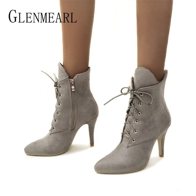 Women Boots Winter Shoes High Heels Fashion Leopard Ankle Boots Pointed Toe Casual Shoes Woman Lace Up Plus Size Ladies Pumps DE 1