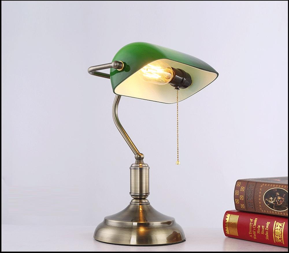 Antique Bronze Desk Lamps Traditional Table Reading Light Green Gl Adjule Task Lamp Br Lighting Bedroom Led In From Lights