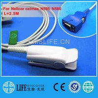 Long Cable NK Adult Finger Clip Spo2 Sensor For Nellcor OXIMAX N595 N560