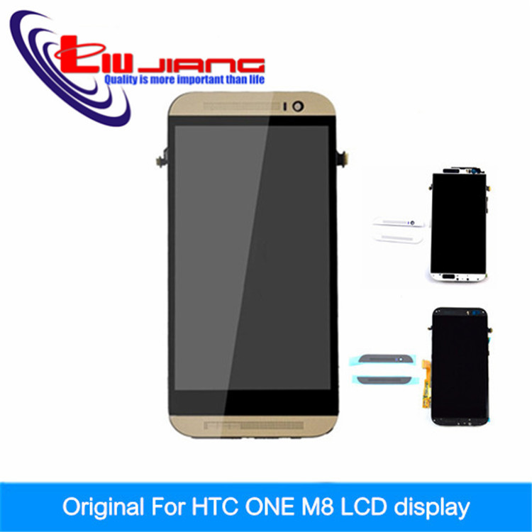 ФОТО 100% Original For HTC One M8 LCD Display With Touch Screen Digitizer frame Assembly Replacement white gold grey + tools+Gift