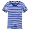 2017 New Summer Fashion Men's Short Sleeve Stripe T Shirt Casual Male O-neck Sailor Tops Navy T-Shirt Free Shipping