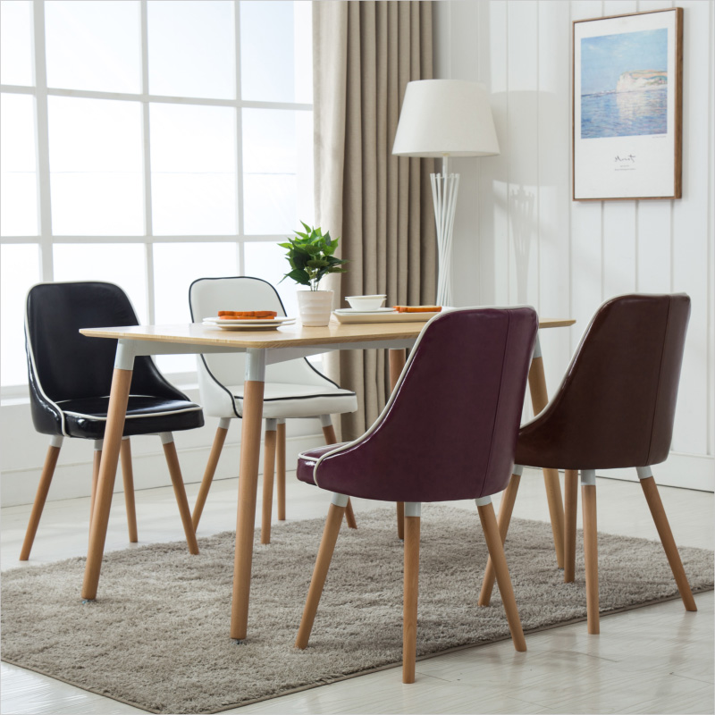 No Rooms Colorful Furniture: New Stylish Leather Dining Chairs, Solid Wood Living Room