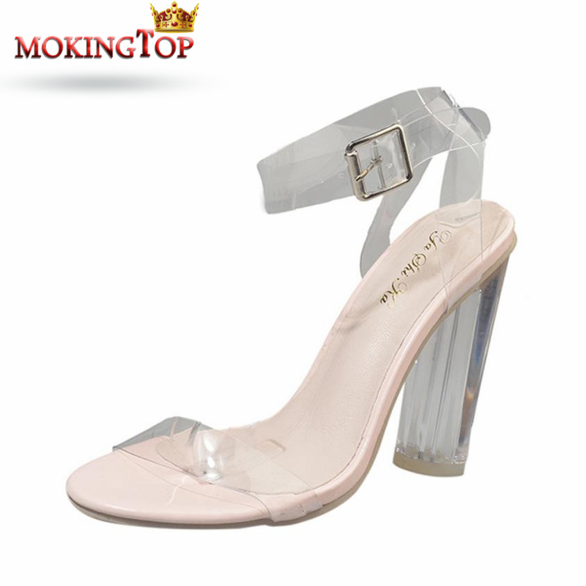 e304abbe4 MOKINGTOP Transparent High Heeled Shoes Sandal Party Shoes woman elegant  Sandals Outdoor summer 2018 womans Sandal Beach shoe WS-in High Heels from  Shoes on ...