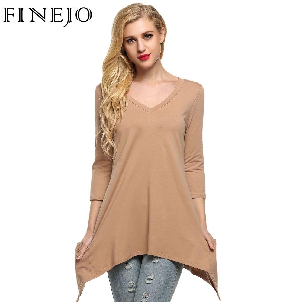 cc893d405 FINEJO Mulheres Elegante camiseta de Algodão Pescoço V 3/4 Manga Hem Lenço  Linha Leve Tricotar Túnica T-shirt Top tees XXL
