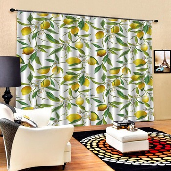 yellow curtains 3D Curtain Luxury Blackout Window Curtain Living Room Blackout curtain