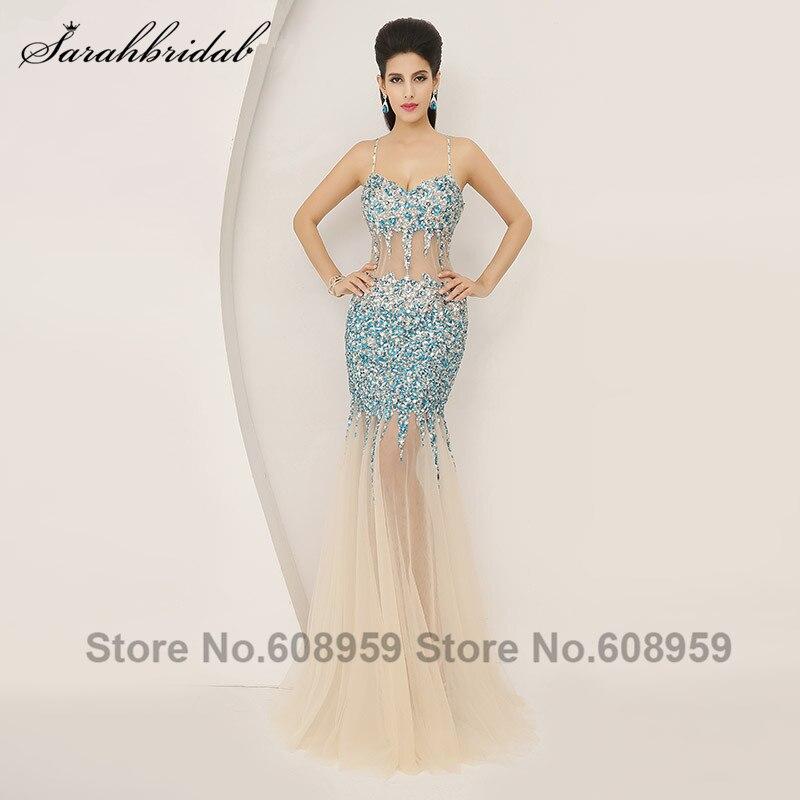 3646aa5716 Sexy Spaghetti pasy Mermaid suknie wieczorowe luksusowe kryształowe cekiny  przepuszczalność długa sukienka na imprezę prawdziwe zdjęcia AJ005