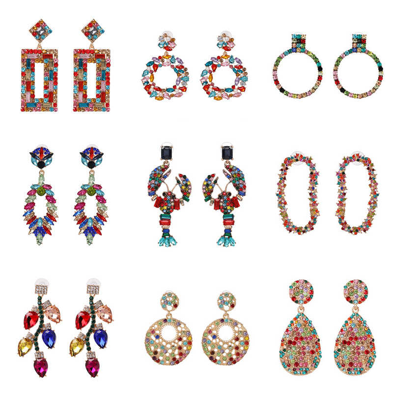 JURAN New Colorful Fashion Brand Charm Big Earring Luxury Starburst Pendant Crystal Gem Statement Earrings For Women Wholesale