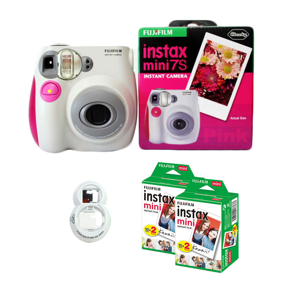 100% Authentic Fujifilm Instax Mini 7s Instant Photo Film Camera, with 40 Sheets Fuji Instax Mini White Film and Selfie Lens