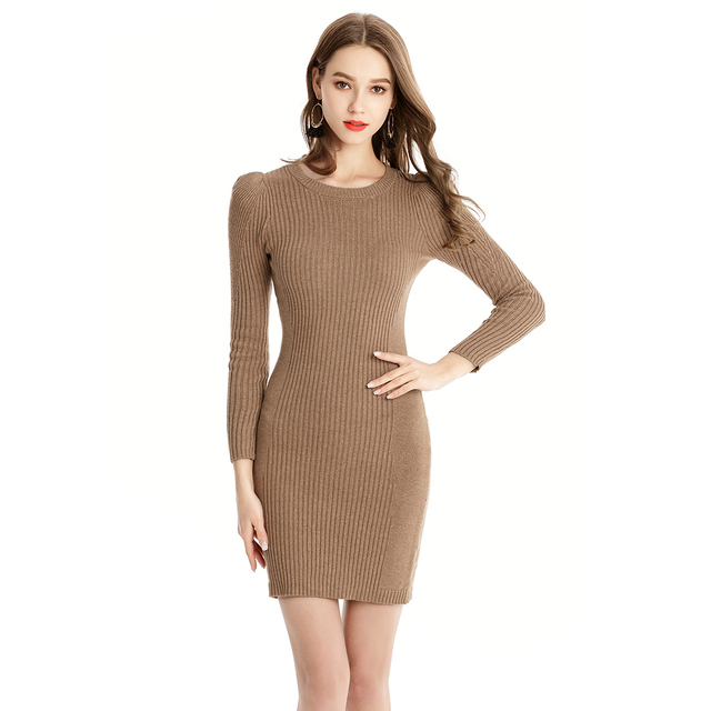 e7f4097eebc Kenancy Women Sweater Dress O-Neck Long Sleeve Kniting Silm Rib Puffed  Sleeves Sexy Mini Dresses Casual Autumn Dress Vestidos